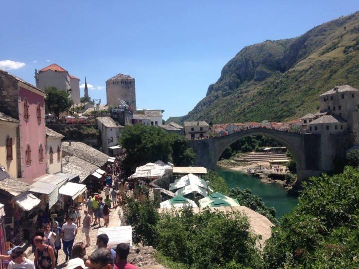 mostar view of old bridge from bazaare